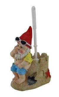 Zeckos Beach Gnome On Sandcastle Throne Toilet Brush and Holder Set Beachy Tattoos, Garden Bags, Toilet Brushes And Holders, Gnome Statues, Gnome House, Gnome Garden, Woodland Creatures, Toot, Miniture Things