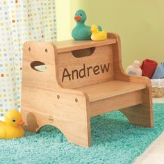 Personalized High Step Stool - Natural