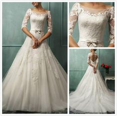 Beautiful Autumn Winter Wedding Dress, Lace and Tulle and a gorgeous church Train.