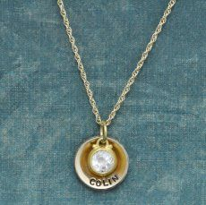 Gold Disc with Genuine Birthstone Necklace
