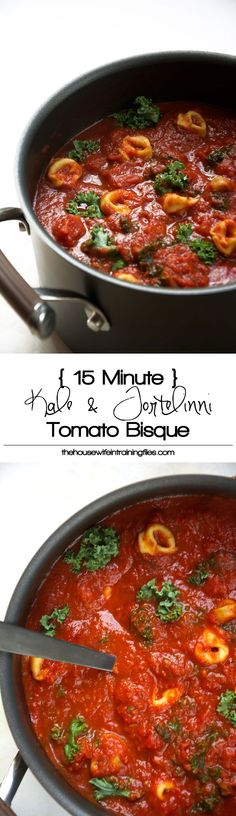 {15 minute} Kale and Tortellini Tomato Bisque