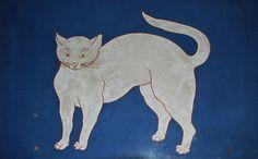 Foujita Painting on stone - Blue Mechelse kamer Schilderij