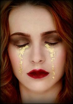 gold leaf tear drop - you never know how somebody may be feeling no matter what they look like/make up/pretty.