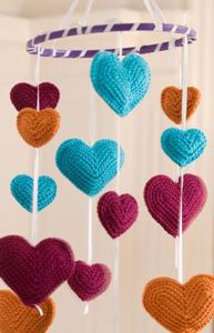 Flying Hearts Mobile - Free Crochet Mobile Pattern