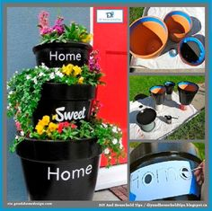 """DIY """"Home Sweet Home"""" Stacked Planters"""