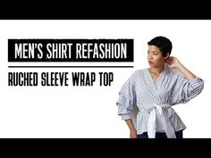 Statement tops and pinstripes, are literally everywhere at the moment. This wrap number is no different! Here I show you how to whip one up, DIY style. Sewing Men, Sewing Clothes, Diy Clothes, Wrap Shirt, Wrap Blouse, Mens Flannel Shirt, S Shirt, Modelos Pin Up, Shirt Hacks