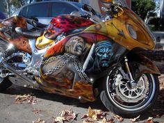 Custom paint job from the movie 300 Custom Motorcycle Paint Jobs, Custom Sport Bikes, Motorcycle Types, Custom Paint Jobs, Motorcycle Art, Cool Motorcycles, Hot Bikes, Street Bikes, My Ride