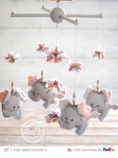 Grey & Pink Nursery Mobile Elephant, FREE FEDEX DELIVERY, Pink and Gray Elephant Mobile, Pink Grey Elephant Nursery Decor, Baby Mobile