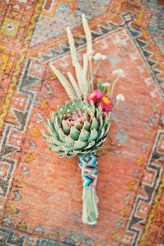 aztec wedding style geometric buttonhole succulent wedding style