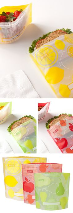 Reusable sandwich bags // washable bags for your lunch and snacks - environmentally friendly BPA-free #product_design