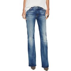 """7 for All Mankind Distressed """"A"""" Pocket Boot Cut Jean ($99) ❤ liked on Polyvore featuring jeans, multi, boot-cut jeans, ripped jeans, 7 for all mankind bootcut jeans, faded jeans and destroyed jeans"""