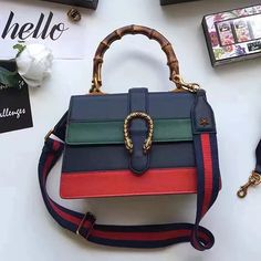 560a12ecbe9 Dionysus Leather Top Handle Bag Blue Green Red 448075