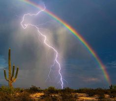 This photo of a bolt of lightning hitting the ground in front of a rainbow was captured on camera by Greg McCown in Marana, Arizona. The avid storm chaser used a lightning trigger attached to his camera to bag the shot. All Nature, Amazing Nature, Natur Wallpaper, Cool Pictures, Beautiful Pictures, Thunder And Lightning, Lightning Storms, Lightning Bolt, Lightning Photos