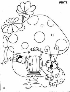 Love the mushroom in this and would only embroider that and leave the flowers and ladybug out. Cute Coloring Pages, Adult Coloring Pages, Coloring Pages For Kids, Coloring Sheets, Coloring Books, Art Drawings For Kids, Cute Drawings, Embroidery Patterns, Hand Embroidery