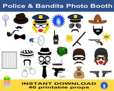 Police Photo Booth Props-40 Pieces-Robber,Bandit,Mafia,Prisoner,Police Officer,Sheriff,Detective Photobooth Props-Cop Party-Instant Download