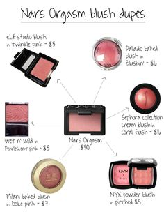 Best Blush, Drugstore Makeup: Nars Orgasm blush dupe | elf twinkle pink, sephora coral flush, wet n wild pearlescent pink, milani dolce pink , nyx pinched