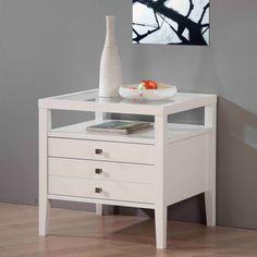 Aristo Gloss White End Table