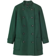 Toast Sackville Coat (1.840.815 IDR) ❤ liked on Polyvore featuring outerwear, coats, jackets, coats & jackets, forest green, long sleeve coat, double-breasted coat, funnel neck coat and green coat