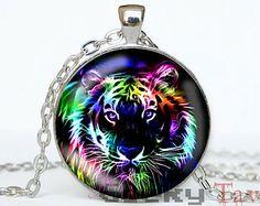 Tiger Necklace, Animal Necklace, Rainbow Animal Jewelry, Wildlife Jewelry, Jungle Animal Necklace, Fractal Animal, Tiger Pendant Necklace