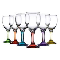 Six glass wine glasses with colored stems.   Product: 6 Piece wine glass setConstruction Material: GlassCo...