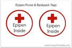 printable Epipen tag