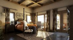 If you are having difficulty making a decision about a home decorating theme, tuscan style is a great home decorating idea. Many homeowners are attracted to the tuscan style because it combines sub… Tuscan Bedroom, Home Bedroom, Bedroom Decor, Bedroom Ideas, Warm Bedroom, Bedroom Retreat, Dream Bedroom, Tuscan Style Decorating, Tuscan Design