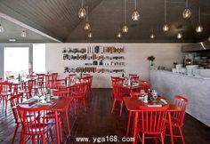 Small Restaurants Design: Red Restaurant Design in santiago chile