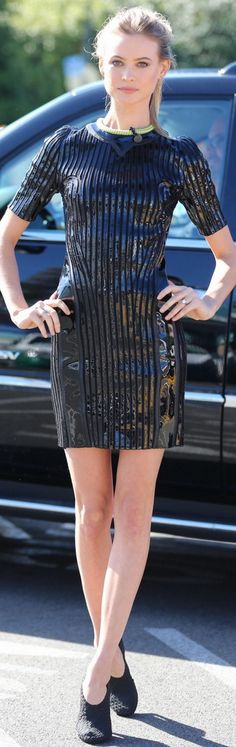 Behati Prinsloo, blue sequin stripe dress t