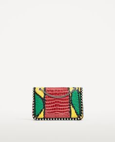 MULTICOLOURED EMBOSSED LEATHER CROSSBODY BAG