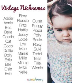 Find a Name for your Baby! - Boy Baby Names - Ideas of Boy Baby Names - Vintage Nicknames Kids Names Ideas fo Kids Names Vintage nicknames for girls can make charming short forms for classic names or stand on their own. Sweet Girl Names, Little Boy Names, Cute Baby Names, Kid Names, Children Names, Baby Names For Boys, Girly Girl Names, Beautiful Baby Girl Names, Gorgeous Girl