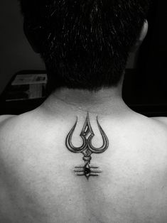 Trishul (Trident) tattoo with third eye of Lord shiva