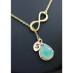 Monogram Necklace Infinity personalized necklace with mint glass... ($27) ❤ liked on Polyvore featuring jewelry, necklaces, mint jewelry, glass necklace, monogram necklace, infinity jewelry and infinity necklace