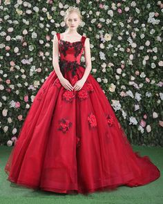 Sweet red tulle lace appliques long ball gowns #promdress
