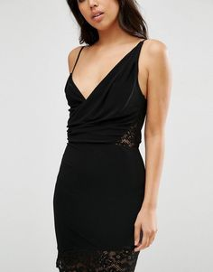 ASOS | ASOS Lace Insert One Shoulder Mini Bodycon Dress at ASOS