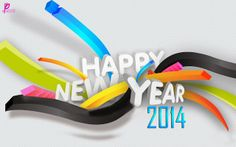 Beautiful Happy New Year 2014 Wallpaper & Colourful Cards