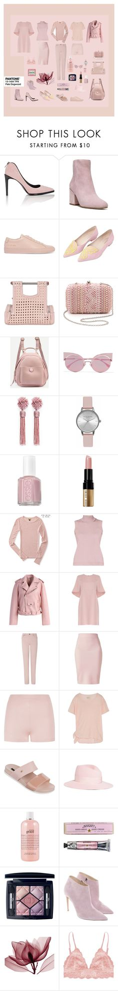 Pantone 13-1404 Pale Dogwood by sophie-poualion on Polyvore featuring Valentino, Current/Elliott, Rumour London, Aéropostale, Chicwish, L.K.Bennett, Winser London, Humble Chic, Helmut Lang and Sophia Webster