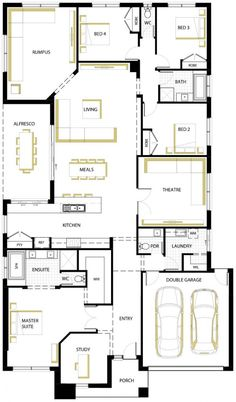 Stanford 35 Floor Plan, really like this. Sims House Plans, House Layout Plans, Best House Plans, Dream House Plans, House Layouts, House Floor Plans, 4 Bedroom House Plans, Family House Plans, Architectural Floor Plans