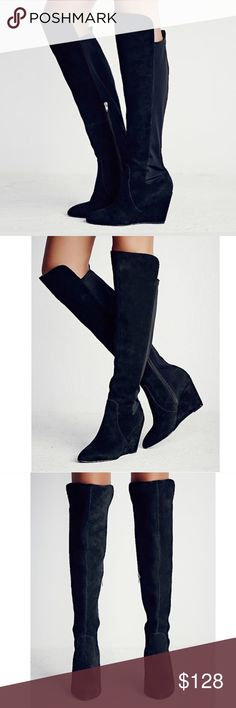 FREE PEOPLE Salina Over the Knee Wedge BOOTS Black BRAND NEW in Box!! Classic and sleek over-the-knee tall boots in a delicious and luxe suede. Inside zip and elastic stretch in back for an easy on/off. Features a wedge heel. Color: Black. Retail: $228.00.   Care/Import. One of FP's all-time top rated boots. 5🌟-Rated, Customer Favorite. Completely sold-out.   Measurements * Heel: 3.75 in * Shaft: 18.0 in Free People Shoes Over the Knee Boots