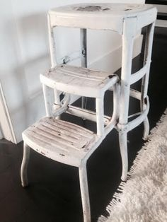 Metal Folding Step Stool Chair Ladder Kitchen Industrial Age Hoosier Shabby Chic