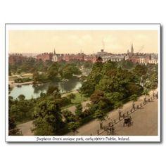Stephens Green, antique Dublin park post card