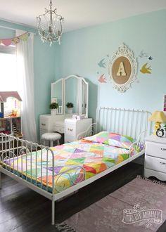 Triangle Quilt Tutorial + Modern Vintage Rainbow Girls Bedroom Update