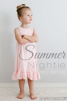 Free Summer Nightie Sewing Pattern, a cute nightgown pattern for girls made from knit fabric. Learn how to sew a kids summer nightie.