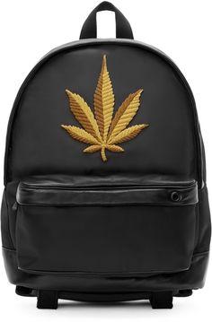 Palm Angels Black Embroidered Leaf Backpack