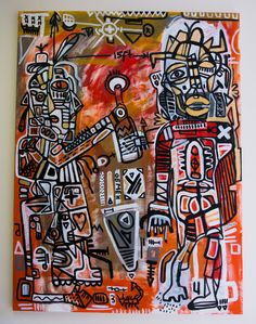 "Art of Anton Vitkovskiy ""Exchange"" Acrylics on canvas 2013 Abstract Drawings, Abstract Art, Expressionist Artists, Expressionism, Modern Art Artists, Psychadelic Art, Aliens, Nyc Art, Colorful Artwork"