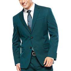 #MensUSA - #MensUSA Mens 2 Button Super Slim Fit Teal Blue ~ Cobalt Suit Jacket - AdoreWe.com