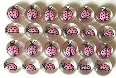 Jazzy Glass Gems, Hand Painted Set of 24, Party Supplies, Party Favor, Decoration, Pink Ladybugs * Details can be found by clicking on the image.