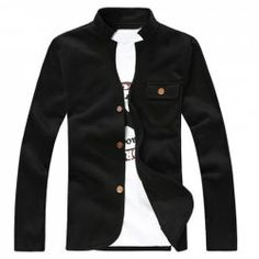 $17.99 Fashion Style Stand Collar Solid Color Long Sleeves Cotton Blend Men's Cardigan