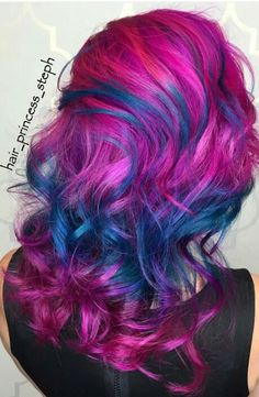 Pink purple blue dyed hair color
