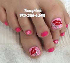 Here I have 15 Valentine's Day toe nail art designs, ideas & stickers of Valentine's Day Nail Designs, Square Nail Designs, Pedicure Designs, Toe Nail Color, Toe Nail Art, Nail Colors, Glitter Toe Nails, Pink Nails, Acrylic Nails