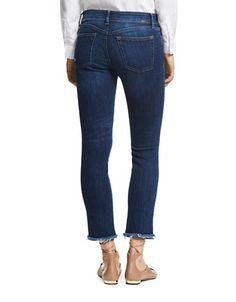 """<ul><li>Smart jeans with distressed detail and raw hemline</li><li>Belt loops</li><li>Zip fly with button closure</li><li>Five-pocket style</li><li>Frayed hem</li><li>Straight-leg</li><li>Rise, about 9""""</li><li>Inseam, about 27""""</li><li>Leg opening, about 13""""</li><li>Promodal/polyester/X-fit stretch/elastane</li><li>Machine wash</li><li>Imported</li></ul>"""